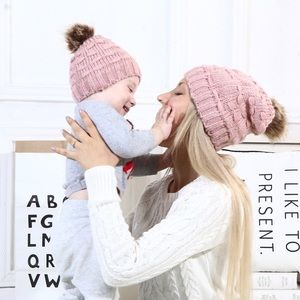 Other - Matching Pink Cable Knit Beanie w/ Pom Pom